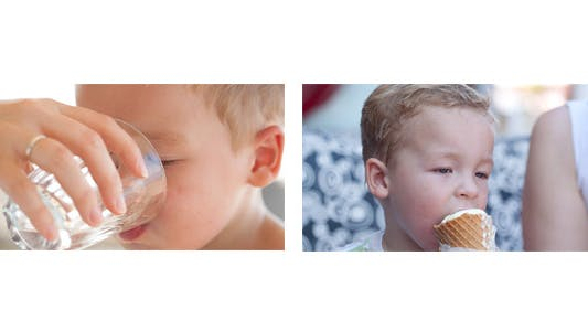 Thumbnail for Little Boy Drinks Water and Eats Ice Cream