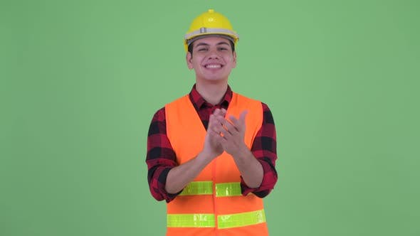 Thumbnail for Happy Young Multi Ethnic Man Construction Worker Clapping Hands