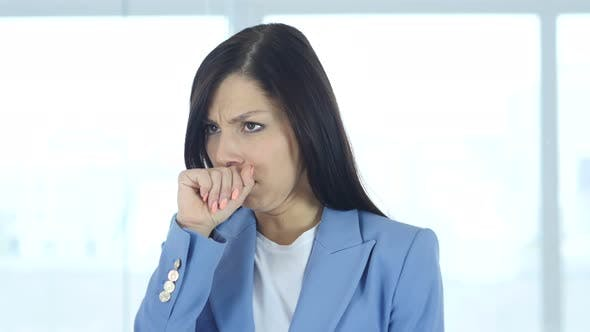 Thumbnail for Sick Female Patient Coughing, Cough and Throat Sore
