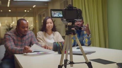 Multiethnic Vlogger Broadcasting Blog for Fans
