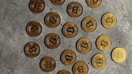 Thumbnail for Golden Bitcoins on Gray Surface