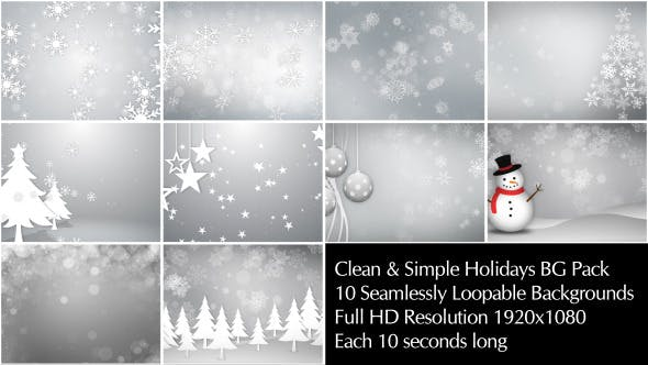 Thumbnail for Clean & Simple Holidays Backgrounds Pack