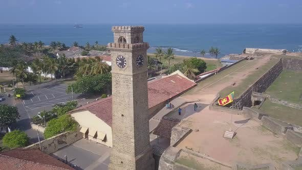 Old Brick Tower with Clock on Wall of Ancient Galle Fort