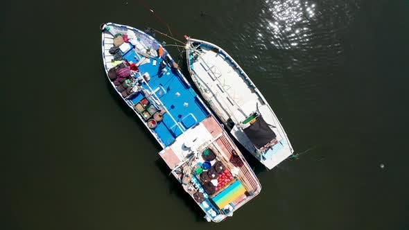 Thumbnail for View of Fishing Boats in a Small Bay in the South of the Island of Sri Lanka. Aerial View.