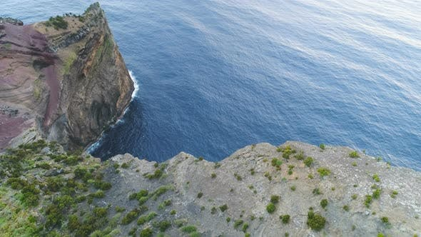 Thumbnail for Aerial View Of Rocky Cliff On Ocean Coast