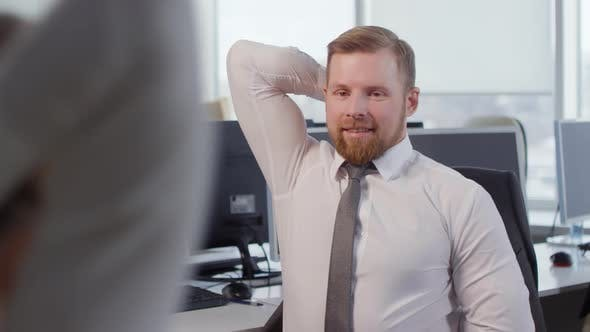 Thumbnail for Caucasian Businessman Exercising in Office