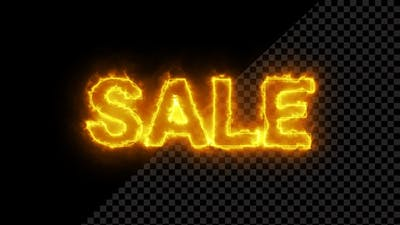 Burning Sale Text Overlay With Fire Flame
