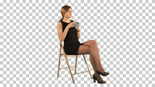 A young attractive woman with a cup of, Alpha Channel