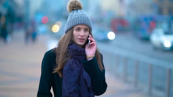 Girl Talking Phone Cars Bokeh