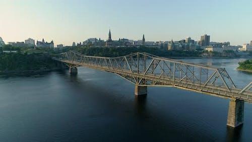 Aerial view of Ottawa River and Ottawa City