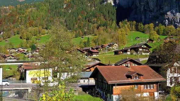 Cover Image for Traditional Chalets of Village in Lauterbrunnen Valley, Berner Oberland, Switzerland