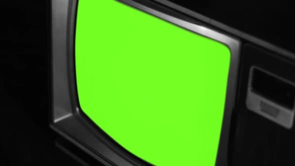 Thumbnail for An Old Television Set with Green Screen, Bad Signal and Color Bars.