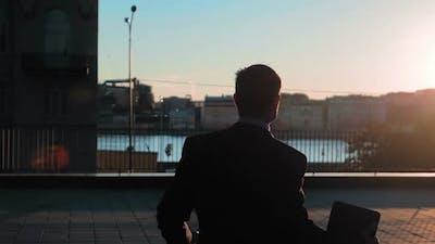 Businessman Outdoors Sunset Joy Success