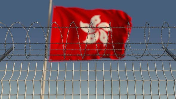 Thumbnail for Barbed Wire Against Waving Flag of Hong Kong