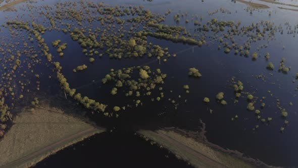 Cover Image for Aerial Drone Footage of High Water in Spring Time