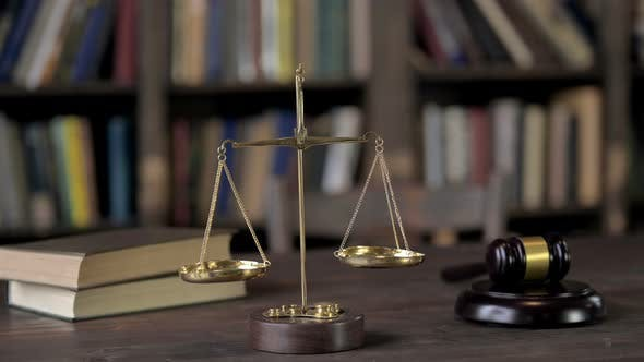Thumbnail for Gavel and Balance Scale on Judge Wooden Table