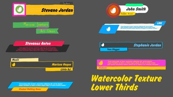 Thumbnail for Watercolor Texture Lower Thirds