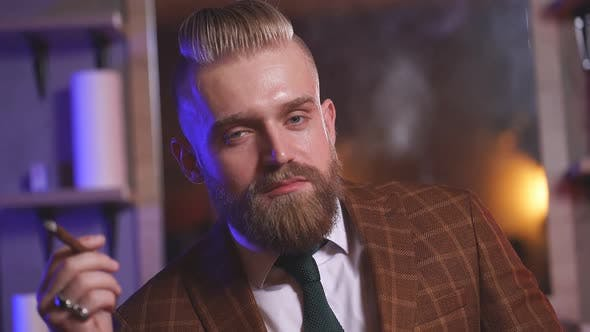 Elegant Bearded Businessman in Barbershop, Brutal Hair Style Concept