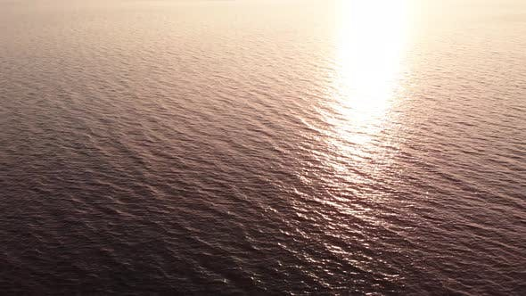 Thumbnail for Water Surface at Sunset. Aerial. Kyiv. Ukraine