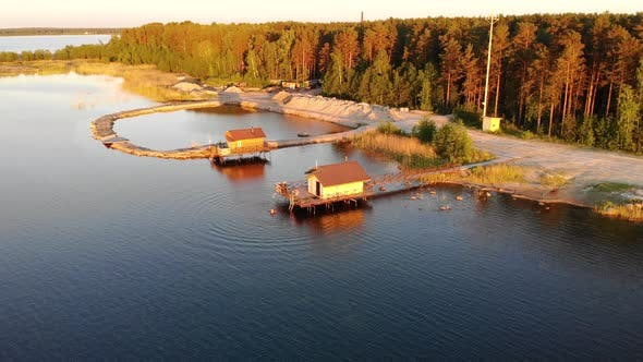 Aerial View of Water Houses