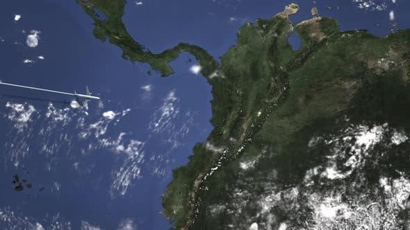 Route eines Kommerziell Flugzeugs, das nach Bogotá Kolumbien fliegt