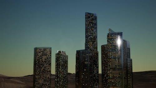 City Skyscrapers at Night in Desert