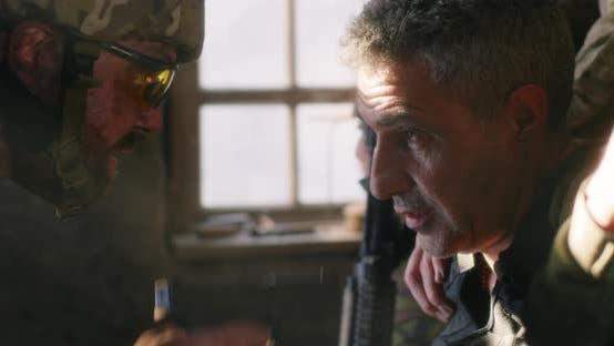 Soldier Interrogating Captive at War