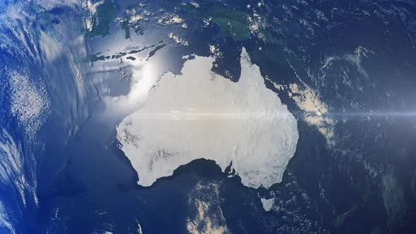 Realistische Erde Zoom Highlight Land Australien