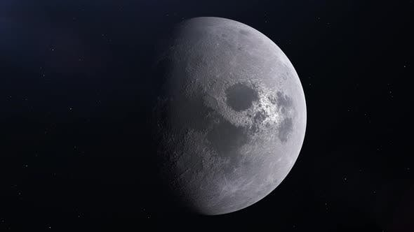 Moon is slowly rotating around its axis. Realistic 3D animation