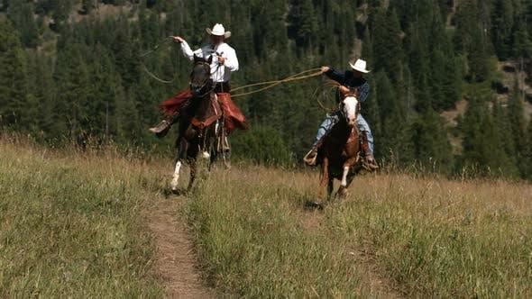 Thumbnail for Zwei Cowboys Reiten Reiten Schwingen Lassos, langsame Moiton