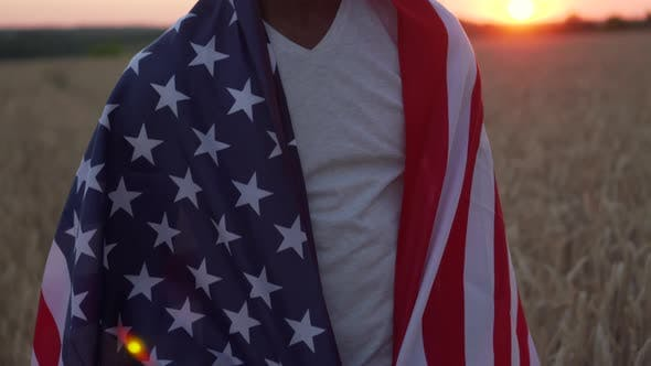 Black Man with Usa Flag.