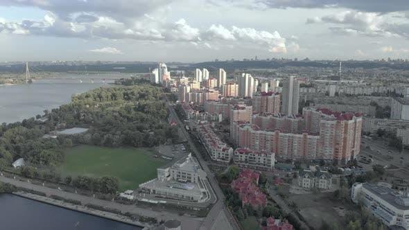 Kyiv, Ukraine. Obolon District. Aerial View