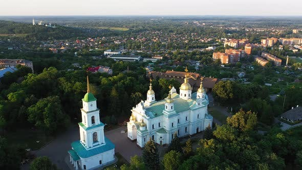 Thumbnail for Poltava City Holy Assumption Cathedral Aerial View in the Evening