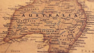 Retro World Map Australia.