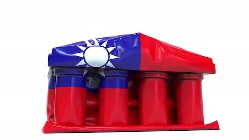 Deflating Bank Government Building Flag Taiwan