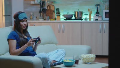 Determined Woman Playing Video Game