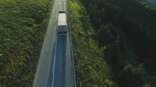 Semi Truck Driving in Mountains
