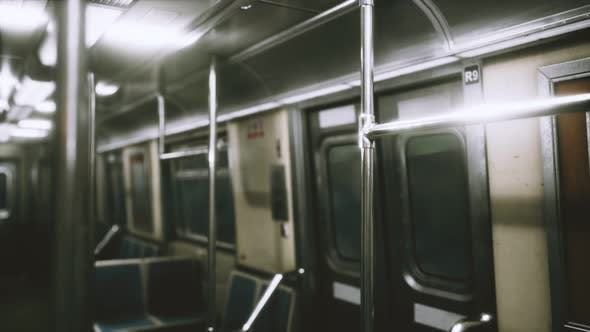 Inside of New York Subway Empty Car