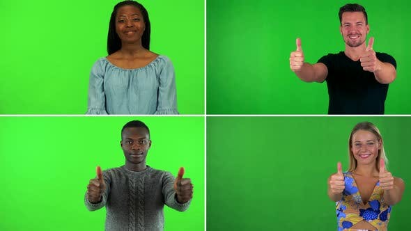 Thumbnail for Compilation (Montage) - Four People Smile and Show Thumbs Up To the Camera - Green Screen