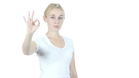 Thumbnail for Confident Woman Showing Ok Sign, White Background