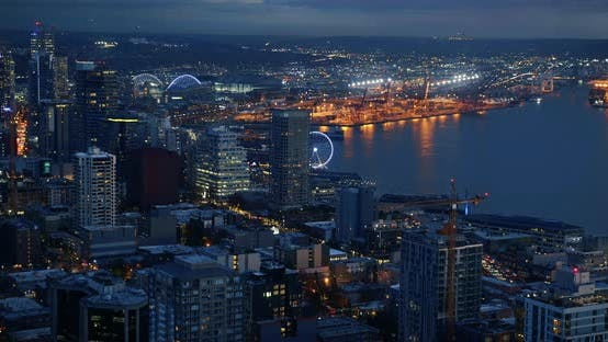 Thumbnail for Day To Night Time Lapse Of Busy Seattle Waterfront