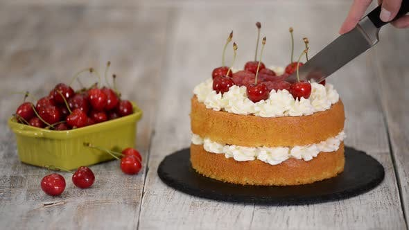Thumbnail for Woman Is Cutting The Naked Cherry Cake With Vanilla Cream.