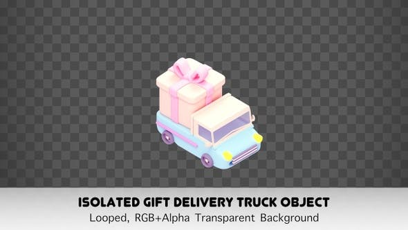 Thumbnail for Isolated Gift Delivery Truck Object