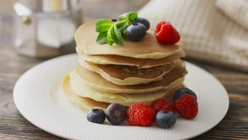 Thumbnail for Food and Cooking Concept. Stack of Pancakes with Fresh Berry, Rotate Shot