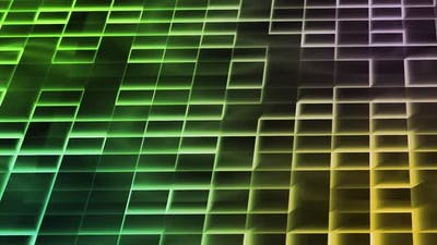 Colorful Trendy Background with Gradient Rectangles Squares and Glowing Lines