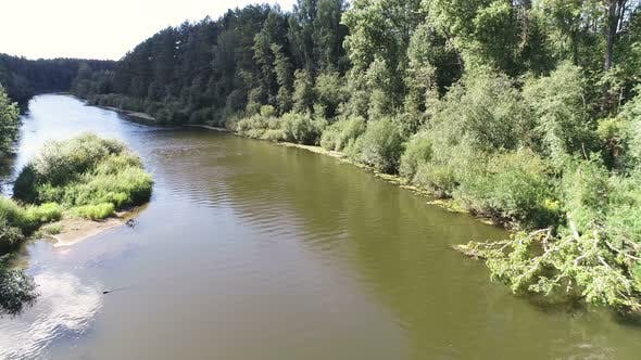 Thumbnail for Aerial Beautiful View of the River Among the Forest in Sunny Summer Day