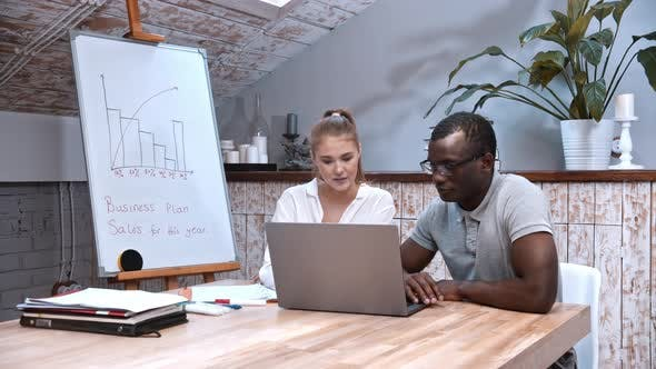 Thumbnail for African-american Man and Caucasian Woman at the Business Meeting - Looking in the Laptop