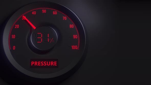 Thumbnail for Red and Black Pressure Meter or Indicator