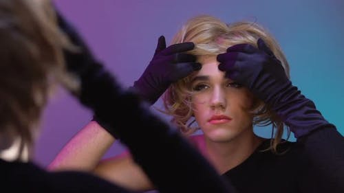 Drag Queen Putting on Female Wig Before Travesti Show, Sexual Orientation