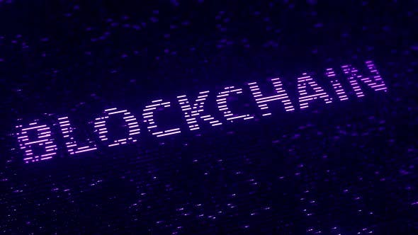 Thumbnail for Purple BLOCKCHAIN Word Made with Flying Particles